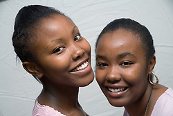 Portrait of girls smiling,