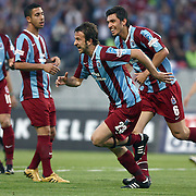 Trabzonspor's Remzi Giray KACAR (C) celebrate his goal with Ceyhun GULSELAM (R) during their Turkish superleague soccer match Trabzonspor between Denizlispor at the Avni Aker Stadium in Trabzon Turkey on Monday, 10 May 2010. Photo by TURKPIX