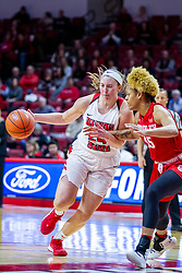 NORMAL, IL - February 07: Megan Talbot presses into the paint guarded by Nyjah White during a college women's basketball game between the ISU Redbirds and the Braves of Bradley University February 07 2020 at Redbird Arena in Normal, IL. (Photo by Alan Look)