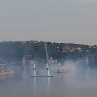 Red Bull Air Race international air show qualifying runs over the river Danube, Budapest preceding the anniversary of Hungarian state foundation. Hungary. Sunday, 19. August 2007. ATTILA VOLGYI