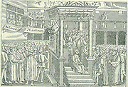 Hugh Latimer (c1485-1555) English Protestant martyr, preaching in front of Edward VI.  Under the Roman Catholic Mary I he was burnt at the stake with Ridley and Cranmer at Oxford. From Foxe's 'Book of Martyrs', 1563.