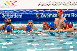 Team Netherlands Bilal Gbadamassi, Jesse Nispeling, Milan de Koff, Eelco Wagenaar, Jesse Koopman before the match against Croatia during the Olympic qualifying tournament. The Dutch water polo players are on the hunt for a starting ticket for the Olympic Games on February 15, 2021 in Rotterdam
