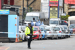 © Licensed to London News Pictures. 29/06/2017. London, UK. The scene where an 18 year old man was stabbed to death at a parrty in Acton West London early this morning. Photo credit: Ben Cawthra/LNP