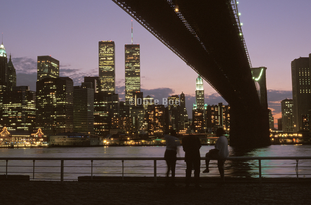 Night Time view of the World Trade Center and the Brooklyn bridge