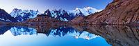 Mountain impression Lac Blanc with Aiguilles de Chamonix, Mont Blanc - Europe, France, Haute Savoie, Aiguilles Rouges, Chamonix, Lac Blanc - Dawn - September 2008
