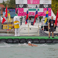 Members of team Hungary compete in the Junior Team 3 km competition of the FINA World Junior Open Water Swimming Championships in Balatonfured (about 132 km South-West from capital city Budapest), Hungary on September 07, 2014. ATTILA VOLGYI