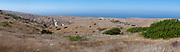View toward the Pacific Ocean from Smugglers Road atop Santa Cruz Island, Channel Islands National Park, California, USA.