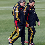 Galatasaray's coach Gheorghe HAGI (F) during their training session at the Jupp Derwall training center, Thursday, January 13, 2010. Photo by TURKPIX