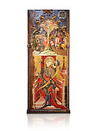 Gothic altarpiece depicting top, Calvary, bottom, St Sebastia (Sebastian) , by Joan Mates of Villafranca de Penedes, circa 1417-1425, from the refrectory of Pia Almoina, Barcelona, Temperal and gold leaf on wood.  National Museum of Catalan Art, Barcelona, Spain, inv no: MNAC  32340. Joan Mates was a Spanish painter of the International Gothic style. Against a white background. . .<br /> <br /> If you prefer you can also buy from our ALAMY PHOTO LIBRARY  Collection visit : https://www.alamy.com/portfolio/paul-williams-funkystock/gothic-art-antiquities.html  Type -     MANAC    - into the LOWER SEARCH WITHIN GALLERY box. Refine search by adding background colour, place, museum etc<br /> <br /> Visit our MEDIEVAL GOTHIC ART PHOTO COLLECTIONS for more   photos  to download or buy as prints https://funkystock.photoshelter.com/gallery-collection/Medieval-Gothic-Art-Antiquities-Historic-Sites-Pictures-Images-of/C0000gZ8POl_DCqE