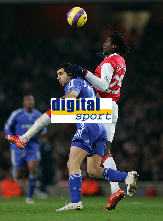Photo: Tom Dulat/Sportsbeat Images.<br /> <br /> Arsenal v Chelsea. The FA Barclays Premiership. 16/12/2007.<br /> <br /> Emmanuel Adebayor of Arsenal and Tal Ben Haim of Chelsea with the ball.