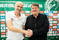 Jure Zdovc and Roman Lisac when Jure was introduced as a new coach of KK Petrol Olimpija, on February 20, 2019 in Arena Stozice, Ljubljana, Slovenia. Photo by Vid Ponikvar / Sportida