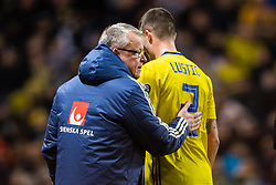 March 23, 2019 - Stockholm, SWEDEN - 190323 Head coach Janne Andersson tends to Mikael Lustig of Sweden who leaves the pitch due to injury during the UEFA Euro Qualifier football match between Sweden and Romania on March 23, 2019 in Stockholm..Photo: Joel Marklund / BILDBYRÃ…N / kod JM / 87914 (Credit Image: © Joel Marklund/Bildbyran via ZUMA Press)