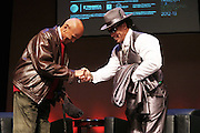 """October 20, 2012-New York, NY: (L-R) Actor/Social Activist Harry Belafonte and Hip Hop Living Legend Grandmaster Melle Mel at From Beat Street to These Streets: Hip Hop Then and Now panel discussion and special screening of """" Beat Street"""" co-hosted by the Schomburg Center, the Tribeca Youth Screening Series & Belafonte Enterprises and held at The Schomburg Center on October 20, 2012 in Harlem, New York City  (Terrence Jennings)"""