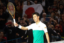 October 31, 2018 - Paris, France - KEI NISHIKORI of Japan after winning his second round match in the Rolex Paris Masters tennis tournament in Paris France. (Credit Image: © Christopher Levy/ZUMA Wire)