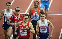 Friidrett<br /> Innendørs-EM 2015<br /> Praha Tsjekkia<br /> 08.03.2015<br /> Foto: Gepa/Digitalsport<br /> NORWAY ONLY<br /> <br /> EAA European Athletics Championships, indoor, 1500m, men. Image shows Charlie Grice (GBR), Henrik Ingebrigtsen (NOR), Jakub Holusa (CZE), Homiyu Tesfaye (GER) and Chris O hare (GBR).