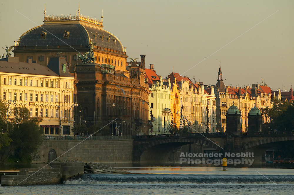 Czeck Republic, Prague, buildings along Smetanova náb?ezí, the avenue along Vltava river in afternoon glow, central Praque.