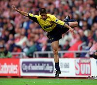 Silvinho (Arsenal) jumps the challenge of Kevin Kilbane (Sunderland, not pictured). Sunderland 1:0 Arsenal. FA Premiership,19/8/2000. Credit Colorsport / Stuart MacFarlane.