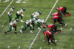 The players prepare for a scrimmage during the match which is part of the NFL London Games at Tottenham Hotspur Stadium, London. Picture date: Sunday October 10, 2021.