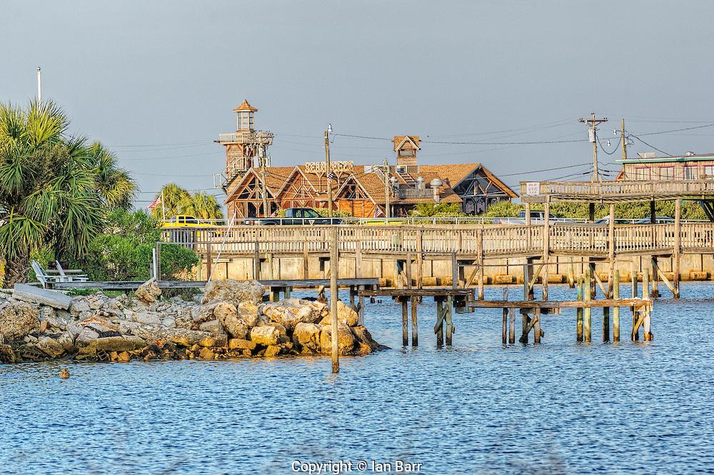 View across the causeway of the Seabreeze Restaurant on Cedar Key, Florida.