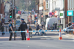 © Licensed to London News Pictures 25/03/2021. Tonbridge, UK. A man is in a life threatening condition in a London hospital after being stabbed on Tonbridge High Street in Kent last night, police and paramedics arrived at around 10pm. A large police cordon is in place as police investigate the attack. Photo credit:Grant Falvey/LNP