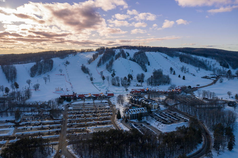Aerial view of Boyne Highlands Resort near Petoskey, Michigan in winter.
