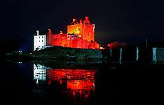 Eilean Donan Castle lit up for Poppy day | Dornie | 2 November 2017
