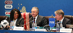 FIFA Secretary General Fatma Samoura and Vitaly Mutko, president of the Russian Football Union, and Alexey Sorokin CEO of the Local Organising Committee attend a seminar on the eve of the final draw for the 2016 FIFA World Cup, Moscow. PRESS ASSOCIATION Photo. Picture date: Thursday November 30, 2017. Photo credit should read: Nick Potts/PA Wire RESTIRCTIONS: Editorial use only. No transmission of sound or moving images. No use with any unofficial third party logos. No altering or adjusting of photographs.