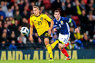 Timothy Castagne (#21) of Belgium bursts forward to chase after a long pass during the International Friendly match between Scotland and Belgium at Hampden Park, Glasgow, United Kingdom on 7 September 2018.