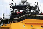 Loke Viking anchor handling tug ship in  the harbour at  Bergen, Norway - harpoon gun