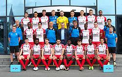 July 17, 2017 - Mouscron, BELGIUM - Top Row (L-R) 11 Mouscron's Dimitri Mohamed, Mouscron's Selim Amallah, Mouscron's Bruno Godeau, Mouscron's Jean Butez , Mouscron's goalkeeper Logan Bailly, Mouscron's goalkeeper Clement Libertiaux, Mouscron's Mergim Vojvoda, Mouscron's Dino Arslanagic, Mouscron's Jonathan Bolingi, Middle Row (L-R): Mouscron's Eric Deleu, Mouscron's Fabrice Olinga, Mouscron's Omar Govea, Mouscron's Thomas Demol, Mouscron's head coach Mircea Rednic, Mouscron's assistant coach Marian Rada, Mouscron's Babacar Dione, Mouscron's Noam Debaisieux,Mouscron's Olivier Croes, Front Row (L-R):, Mouscron's physiotherapist Maxime Degouys, Mouscron's Lucas Morales, Mouscron's Aristote Nkaka, Mouscron's Jeremy Huyghebaert, Mouscron's Benjamin Van Durmen, Mouscron's Rael Nzeza, Mouscron's Sebastien Spahiu, Mouscron's Yannis Mbombo, Mouscron's Thomas Demol and Mouscron's physiotherapist Pierre Alain Six poses for the photographer at the team picture during the 2017-2018 season photo shoot of Belgian first league soccer team Royal Excel Mouscron, Monday 17 July 2017 in Mouscron. BELGA PHOTO VIRGINIE LEFOUR (Credit Image: © Virginie Lefour/Belga via ZUMA Press)