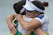 Lucerne, SWITZERLAND.<br /> <br /> AUS . W2X.  right Sally KEHOE, hugs her silver medalist partner, Genevieve HORTON, Finals day. 2016 FISA WCII. Lake Rotsee<br /> <br /> Sunday  29/05/2016<br /> <br /> [Mandatory Credit; Peter SPURRIER/Intersport-images]