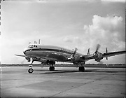 26/04/1958 <br /> 04/26/1958<br /> 26 April 1958<br /> Arrival of Seaboard Super Constellation due to begin Aer Lingus' first transatlantic service two days later. Image shows the aircraft on the runway at Dublin Airport.