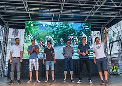 From left side: Andrej Hauptman - Coach of national cycling team of Slovenia and riders: Luka Pibernik, Borut Bozic, Matej Mohoric and Primoz Roglic during reception of slovenian rider Primoz Roglic after Tour de France 2018 on August 6, 2018 in Ljubljana, Slovenia. Photo by Urban Meglic / Sportida