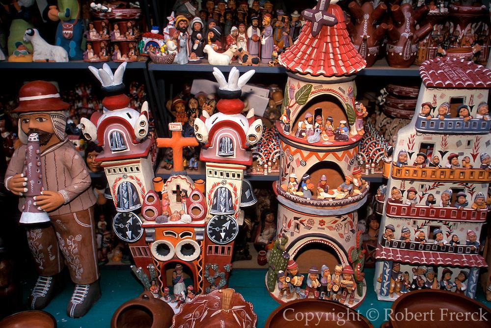 PERU, LIMA, MARKETS ceramic figures and folkart