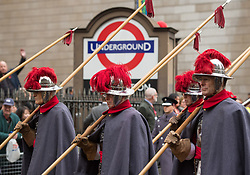 Members of the Company of Pikemen and Musketeers take part in the Lord Mayor's parade in the City of London.