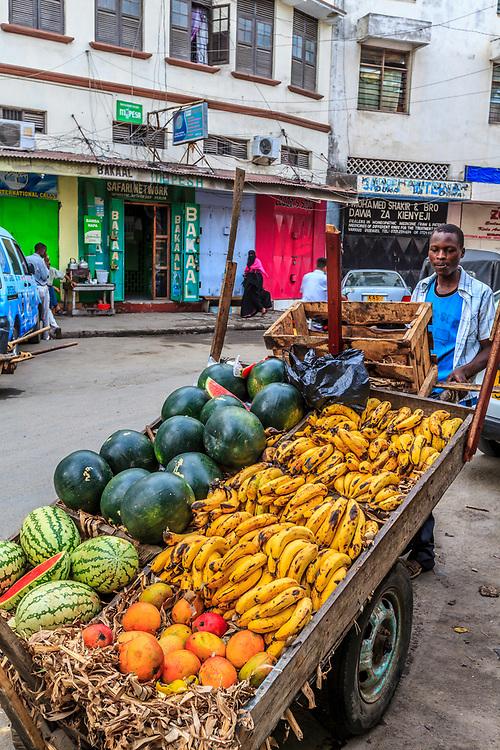 A fruit seller in Mombasa Old Town, Kenya.