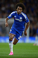 Willian of Chelsea in action. UEFA Champions League group G match, Chelsea v Maccabi Tel Aviv at Stamford Bridge in London on Wednesday 16th September 2015.<br /> pic by John Patrick Fletcher, Andrew Orchard sports photography.