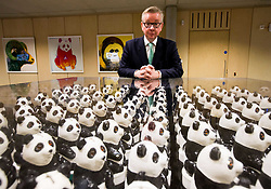 July 21, 2017 - London,  United Kingdom - Michael Gove studies 'Panda Eyes', an art installation by Jason Bruges made from WWF collection boxes. (Credit Image: © Mark Thomas/i-Images via ZUMA Press)
