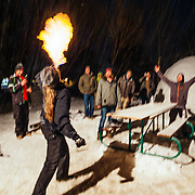 Justus Stearns of team Hostel X blows flames during their last practice before the Gelande Quaff competition.