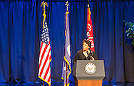 Attorney General is Loretta Lynch speaking at a memorial for police officers slayed in Baton Rouge by a lone gunman following the killing of Alton Sterling.