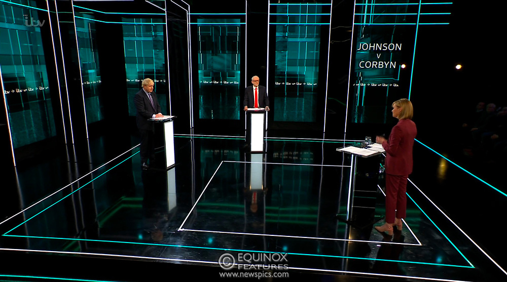 Broadcast TV, United Kingdom - 19 November 2019<br /> Labour leader Jeremy Corbyn and Prime Minister Boris Johnson debate live on ITV tonight as part of the 2019 general election campaign.<br /> (supplied by: Supplied by: EQUINOXFEATURES.COM)<br /> Picture Data:<br /> Contact: Equinox Features<br /> Date Taken: 20191119<br /> Time Taken: 202313<br /> www.newspics.com