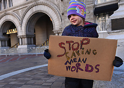 """December 10, 2016 - Washington, DC, USA - ADELINE (ADDIE) WORSLEY, 5 years old holds sign at hotel.  Children's Rally for Kindness takes place at Trump International Hotel in Washington DC on December 10, 2016 organized by the Takoma Parents Action Coalition.  According to their FaceBook page, it was a call to President-elect Donald Trump: ''to remember these lessons as he prepares to take office and implement policies that will affect the lives of children and families across our diverse nation.''.''All over the world, across cultures and countries, children learn the same basic lessons: .Ã'be kind,Ã"""" .Ã'tell the truth,Ã"""" .Ã'be fair,Ã"""" .Ã'respect everyone,Ã"""" .Ã'treat others the way you want to be treated,Ã"""" .Ã'donÃ•t touch others if they donÃ•t want to be touched. (Credit Image: © Carol Guzy via ZUMA Wire)"""