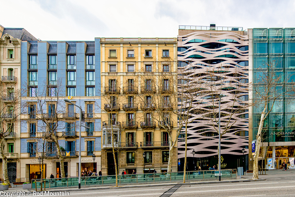 Barcelona, Spain - February 19, 2018 - The unique architectural design of Passeig de Gràcia, 83 in Barcelona by Japanese architect Toyo Ito.<br /> <br /> Image: © Rod Mountain<br /> <br /> https://www.rodmountain.com <br /> <br /> @spain @visitbarcelona<br /> <br /> @spain.info<br /> <br /> @VisitBCN_EN<br /> <br /> https://www.spain.info/en/<br /> https://www.barcelonaturisme.com/wv3/en/<br /> https://en.wikipedia.org/wiki/Barcelona<br /> <br /> #streetleaks #heatercentral #capturestreets #challengerstreets #zonestreet #urban #geometric #pattern #design #bnw_city #blancnoir2 #blancoynegro #bnw_city #bnwmood #bnw_planet #ig_shotz_bw #bnw_life #bnw_planet #bnw_of_our_world #blackandwhite_perfection#imaginatones #top_bnw #photojournalist #europe #europe_vacations #VisitSpain #hoteldesign #travelingram #sharetravelpics #walkabout