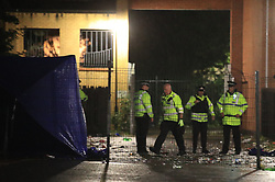 © Licensed to London News Pictures. 21/06/2020. Manchester, UK. Police respond amid reports of multiple shootings in Moss Side. Photo credit: Joel Goodman/LNP