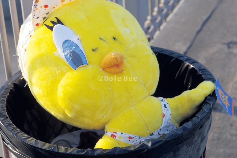 tweety in garbage basket