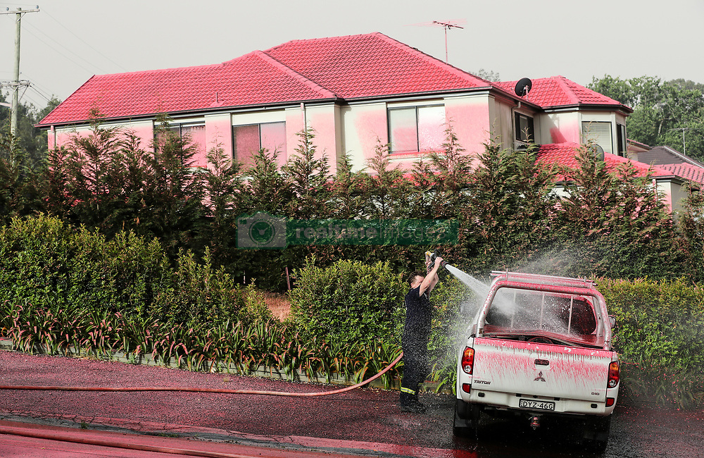 SYDNEY, Nov. 12, 2019  A firefighter washes a truck covered by pink fire extinguishing agent in South Turramurra, Sydney, Australia, Nov. 12, 2019. The Australian government has confirmed that it is considering an unprecedented compulsory callout of military reserves to fight bushfires on the nation's east coast. .   Linda Reynolds, the minister for defence, told Parliament on Tuesday afternoon that she is scoping the ''availability and readiness'' of army, navy and air force reserve forces. .Bushfires that have killed at least three people in northern New South Wales (NSW) were on Tuesday exacerbated by ''catastrophic'' conditions as winds strengthen. (Credit Image: © Bai Xuefei/Xinhua via ZUMA Wire)