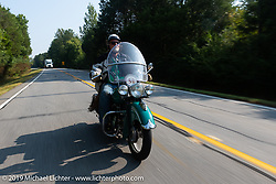 Panhead Fred (Stephen Keith) riding his 1948 Indian Chief in the Cross Country Chase motorcycle endurance run from Sault Sainte Marie, MI to Key West, FL. (for vintage bikes from 1930-1948). Stage-6 from Chattanooga, TN to Macon, GA USA covered 258 miles. Wednesday, September 11, 2019. Photography ©2019 Michael Lichter.
