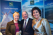 NO FEE PICTURES<br /> 23/1/16 Minister for Tourism Michael Ring and Maureen Ledwith, organiser of the Holiday World Show at the Quality Hotel Youghal stand at the Holiday World Show at the RDS in Dublin. Picture: Arthur Carron