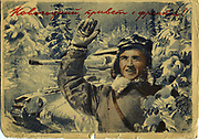 'Soviet propaganda postcard showing a smiling soldier in a winter landscape, a tank behind him. Card posted 19 March 1942 during World War II.'