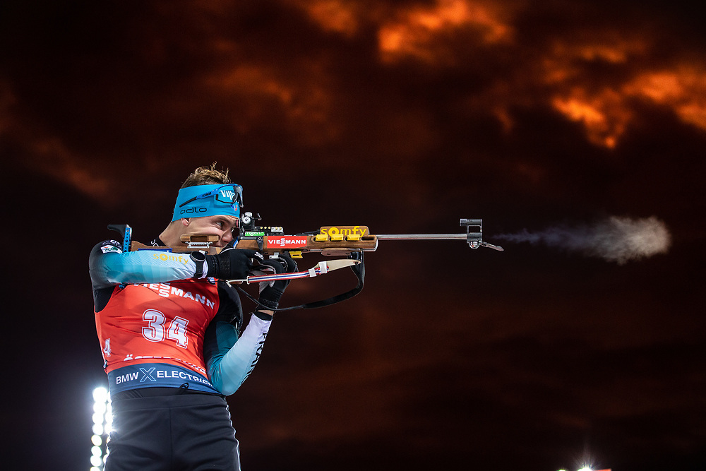 VÄRLDSCUP SKIDSKYTTE DISTANS HERRAR2019-12-04<br /> Emilien Jacquelin FRA under onsdagens distanslopp för herrar  på Swedish National Biathlon Arena i Östersund.<br /> <br /> Foto:Per Danielsson/Projekt P
